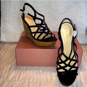 Fergie Black Wedge Sandals Size 10M NWOB